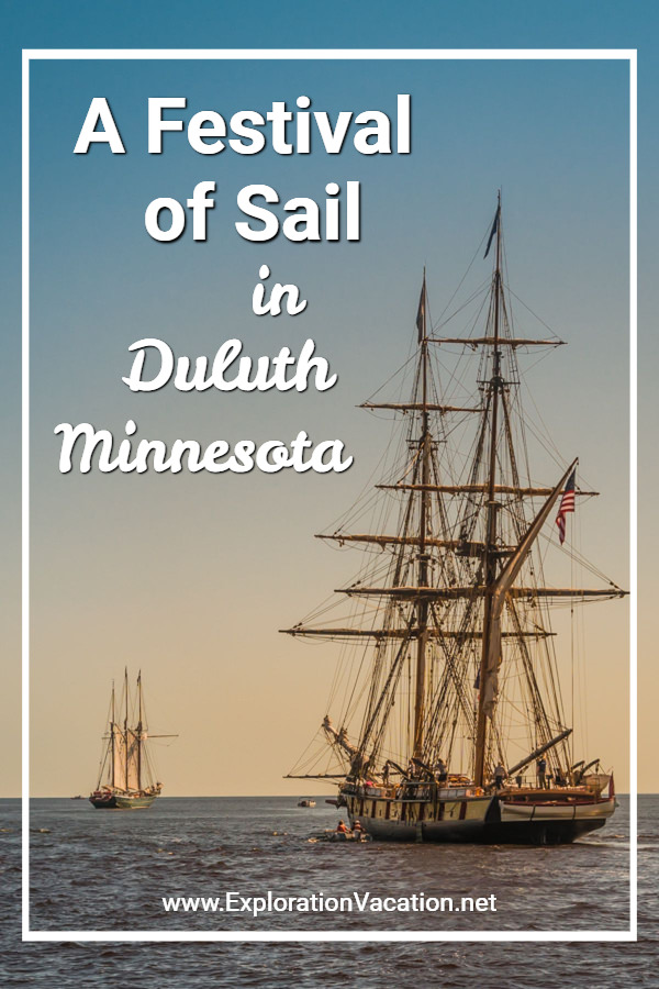"ships under sail with text ""A festival of sail in Duluth Minnesota"""