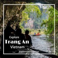 """photo of a rowboat leaving a cave with text """"Trang An Vietnam"""""""