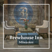 "hotel sitting area with text ""Brewhouse Inn Milwaukee"""
