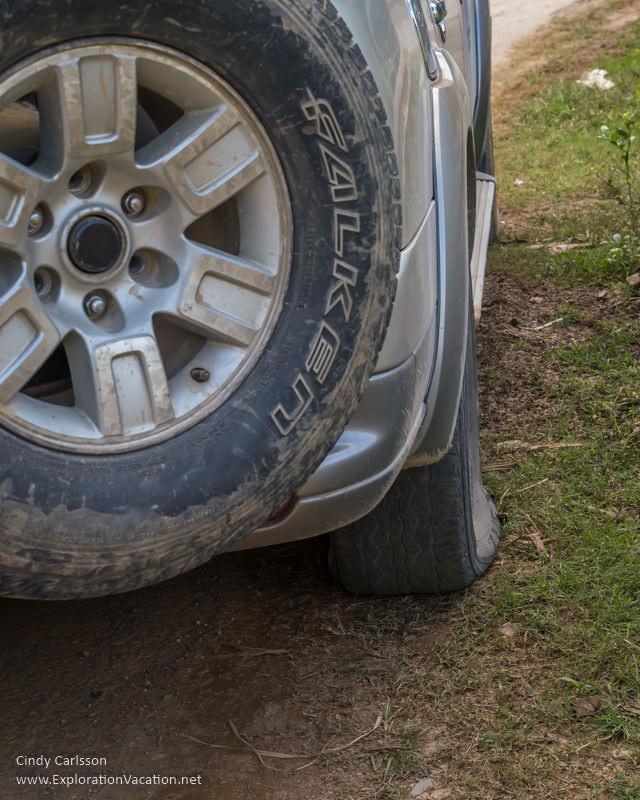 flat tire Northern Vietnam - ExplorationVacation