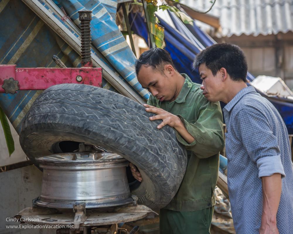 tire repair Northern Vietnam - ExplorationVacation