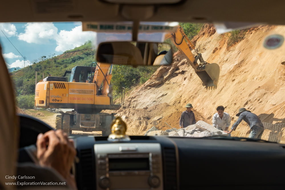 raod construction Northern Vietnam road trip - ExplorationVacation