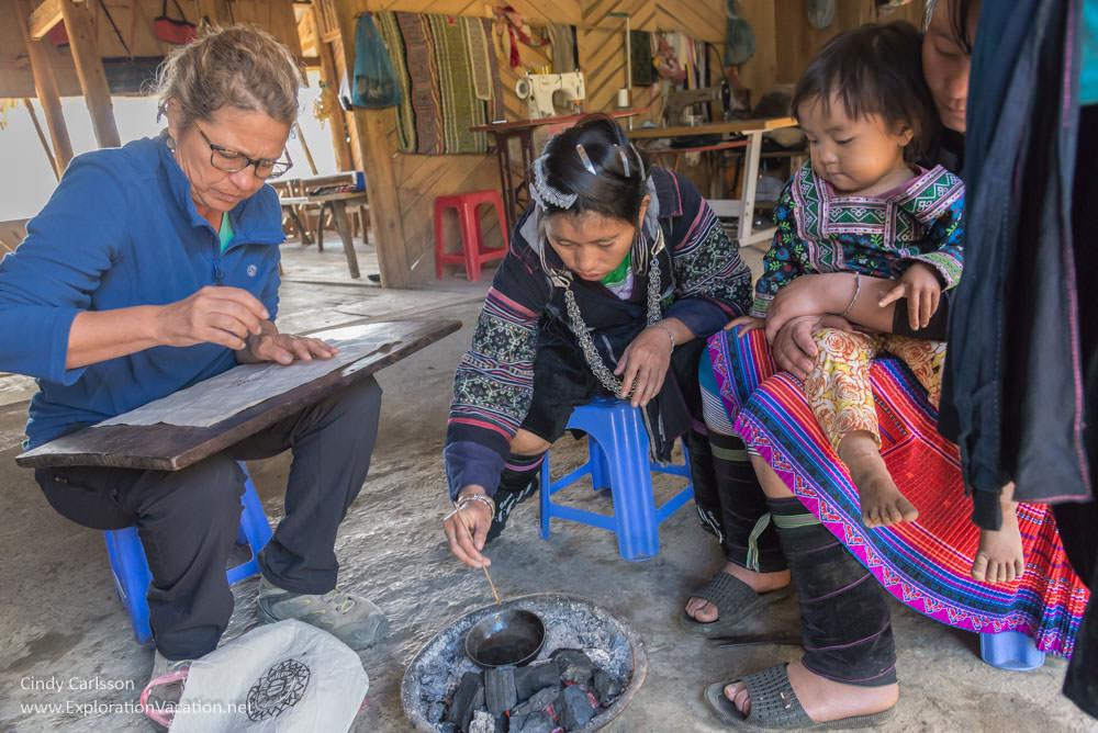 batik class Northern Vietnam road trip Black Hmong village Sapa - ExplorationVacation