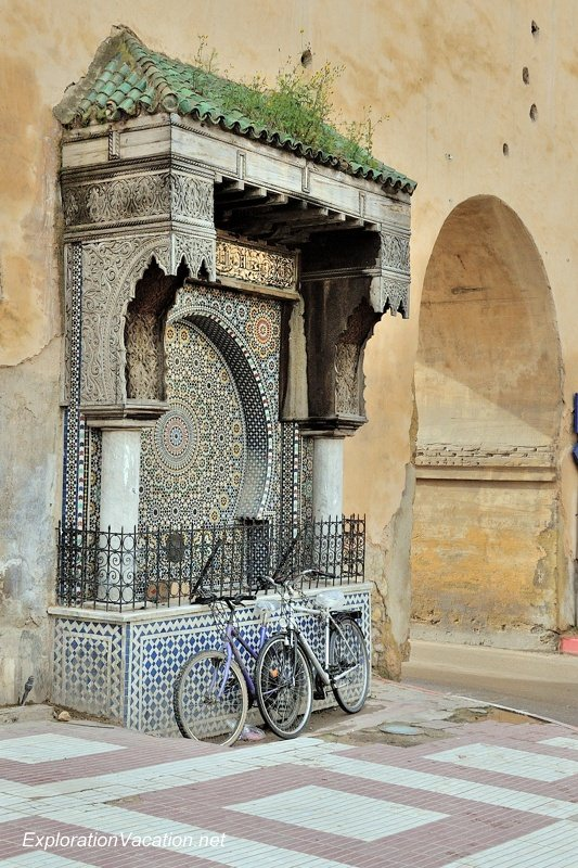 fountain at Bab el-Mansour gate in Meknes Morocco - www.ExplorationVacation.net