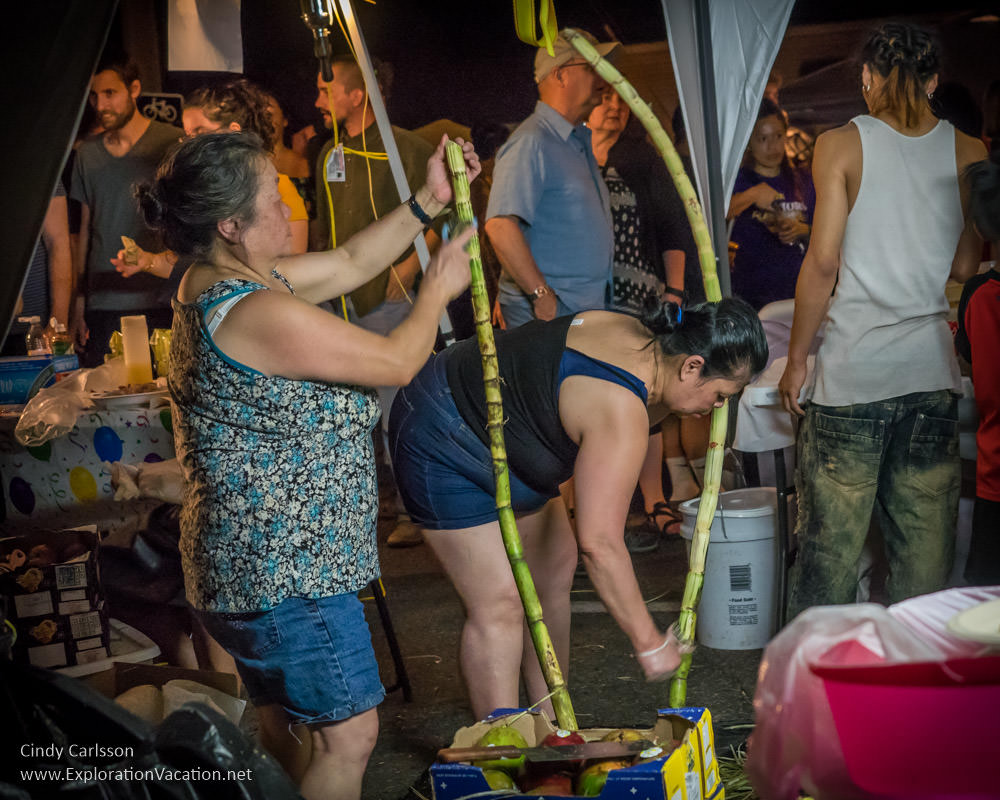 preparing sugar cane Little Mekong night market Northern Spark 2017 St Paul Minnesota - www.ExplorationVacation.net