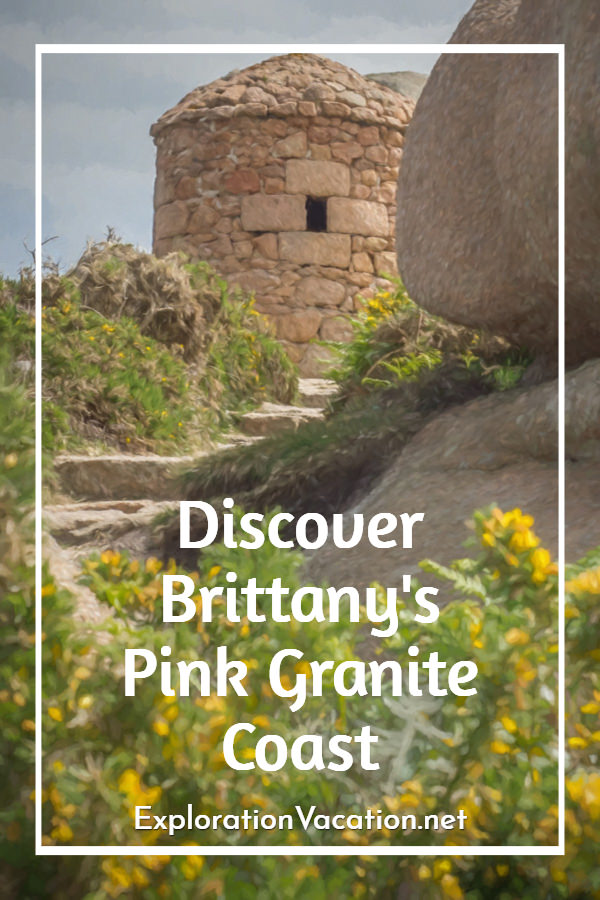 Title with painting of ruins of a stone tower with stairs and wildflowers