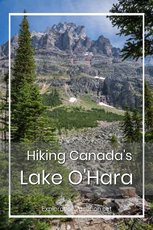 "Mountain scenery with text ""Hiking Lake O'Hara Canada"""