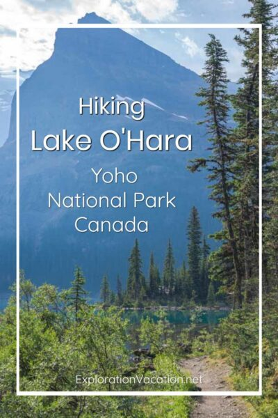 """path to forested lake shore with text """"Hiking Lake O'Hara Yoho National Park Canada"""""""