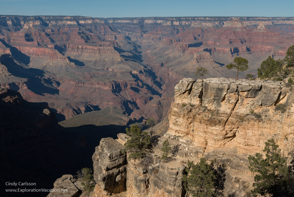 Scenic views from the Grand Canyon's south rim - Monument Creek Overlook - www.ExplorationVacation.net
