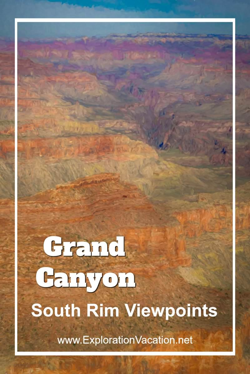 Scenic views into the Grand Canyon's south rim