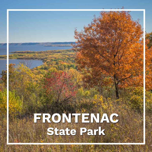 "Fall view to a distant river with text ""falling for fall in Minnesota's Frontenac State Park"""