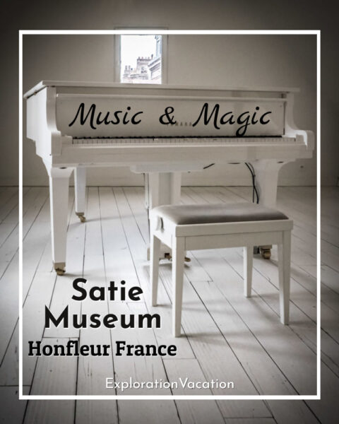 """white piano in a white room with text """"Satie Museum Honfleur France"""""""