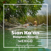 """person floating in a tropical canal with text """"Mayan Canal Float Sian Ka'an Mexico"""""""