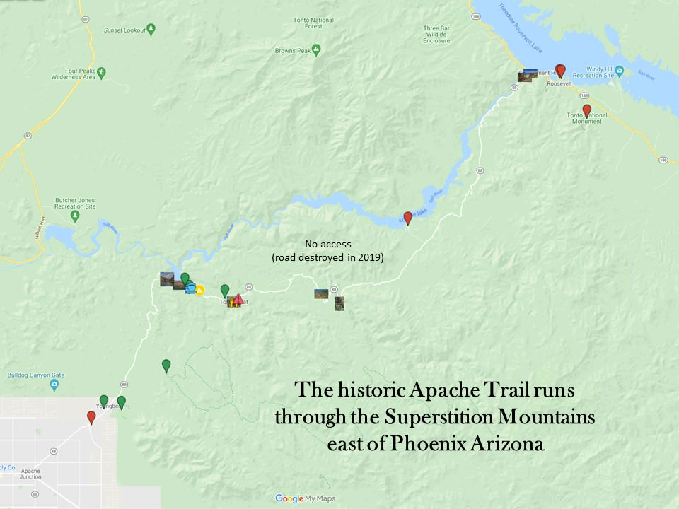 map showing Apache trail highlights