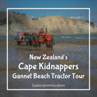 "Tractor on beach with text ""Cape Kidnappers New Zealand Gannet Beach Tractor Tour"""