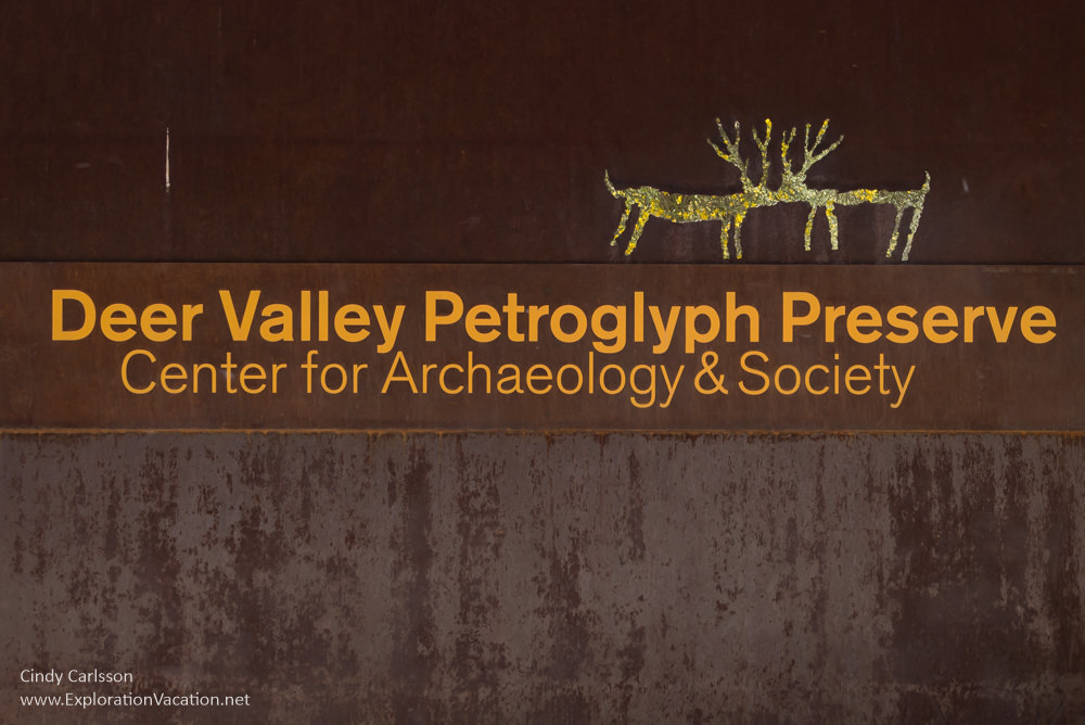 Entry sign Deer Valley Petroglyph Preserve protects ancient rock art in Phoenix Arizona USA - ExplorationVacation.net