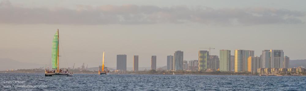 Photo of Honolulu as seen from a Waikiki sunset cruise by ExplorationVacation.net