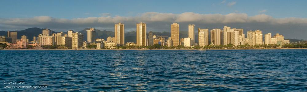 Photo of development along Waikiki Beach in Honolulu by ExplorationVacation.net