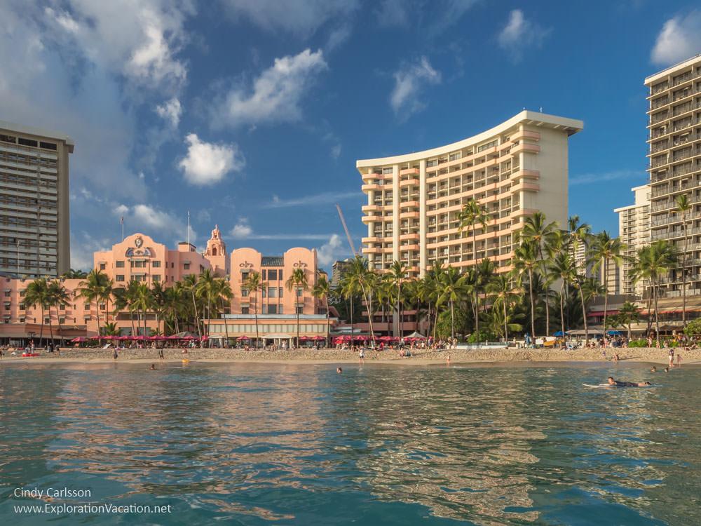 Photo of Royal Hawaiian Hotel on Waikiki Beach from ExplorationVacation.net
