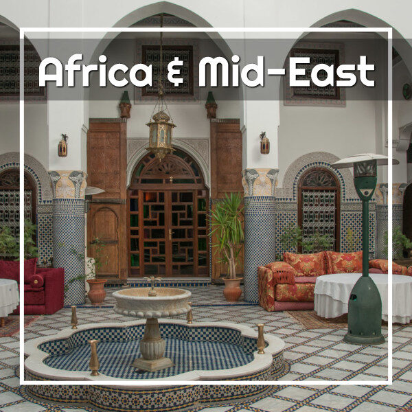 """Riad with text """"Africa and Mid-East"""""""