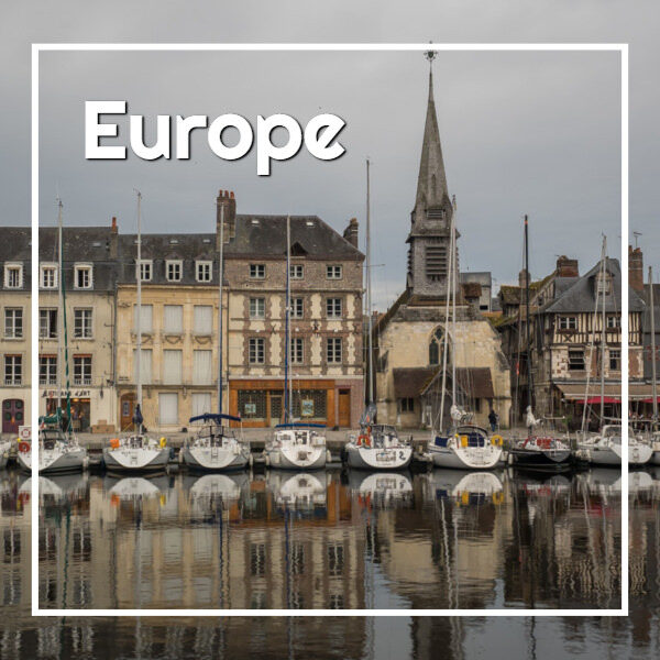 "old harbor with boats and text ""Europe"""