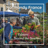"market scene with text ""Normandy, France, beyond the Beaches"""