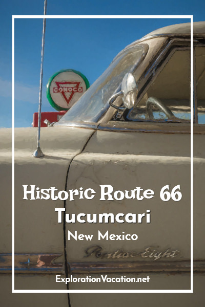 With a classic highway commercial strip that's changed little since the heyday of historic Route 66, travelers on the Mother Road will feel right at home in #Tucumcari New Mexico where classic cars and old gas stations are easy to find – ExplorationVacation #NewMexico #Route66 #Route66RoadTrip #motherroad #ontheroadagain