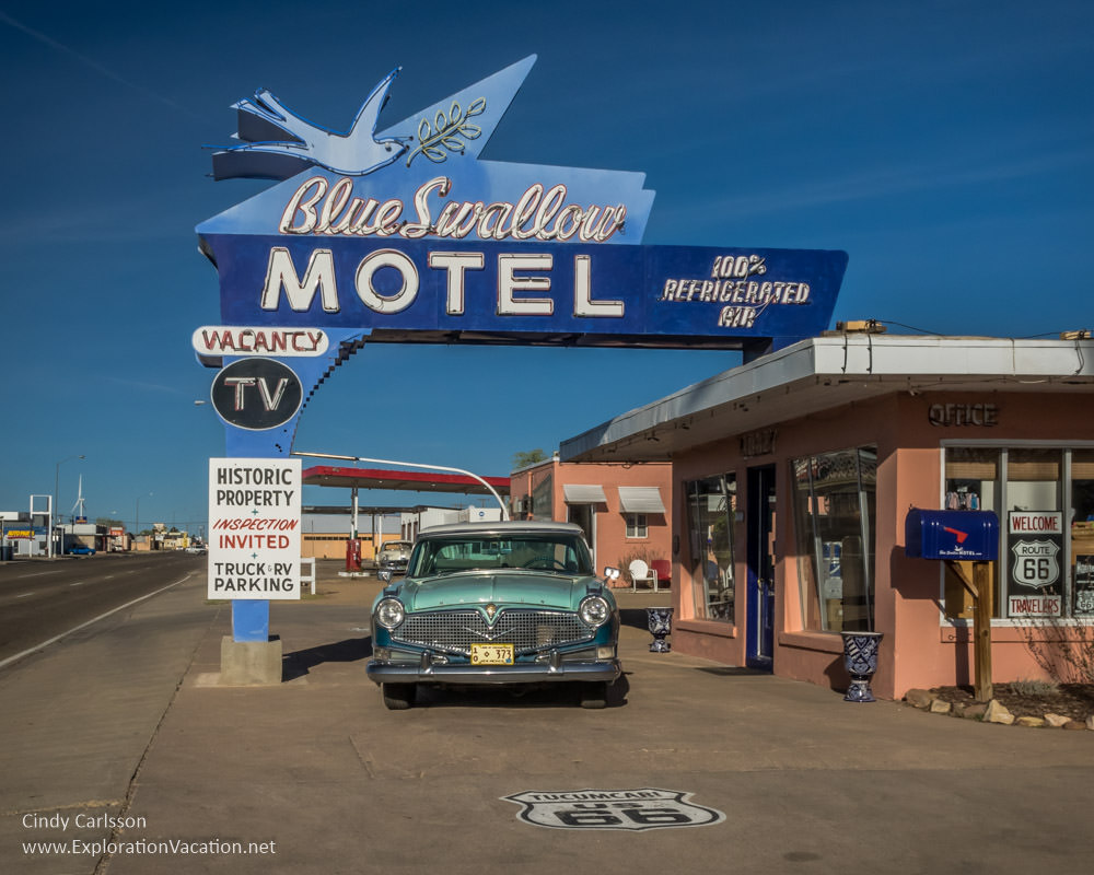 Blue Swallow Motel on historic Route 66 in Tucumcari New Mexico - ExplorationVacation.net