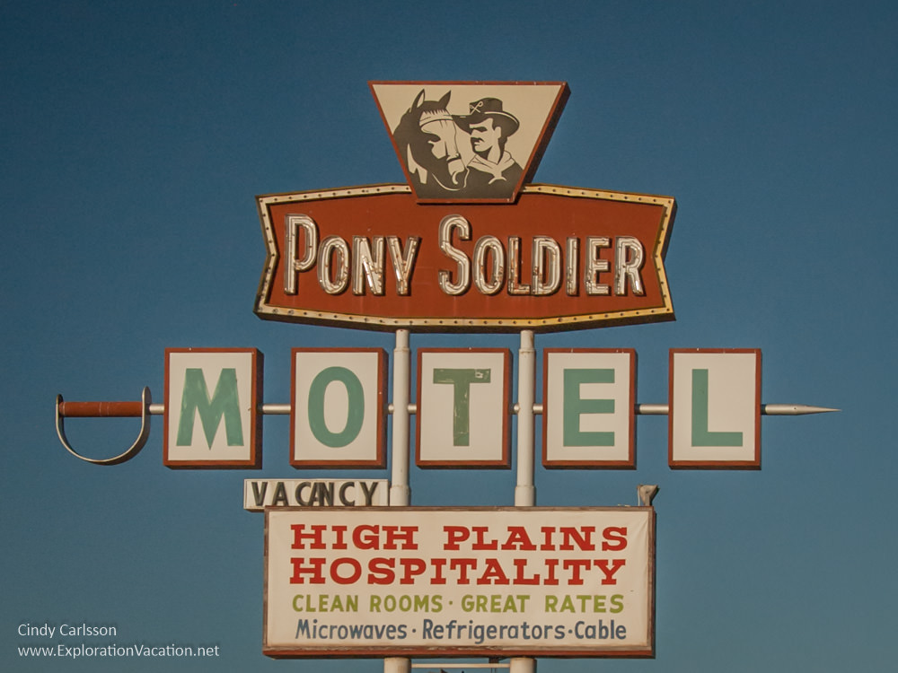Pony Soldier Motel Sign on historic Route 66 in Tucumcari New Mexico - ExplorationVacation.net