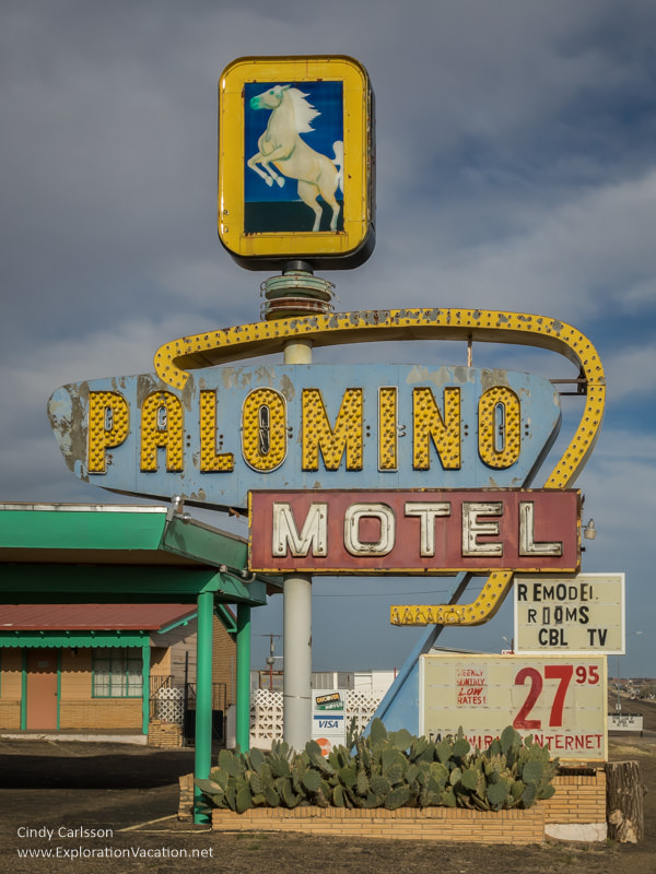 run-down sign for the Palomino Motel