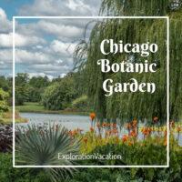 "Lakeside gardens with text ""Chicago Botanic Garden"""
