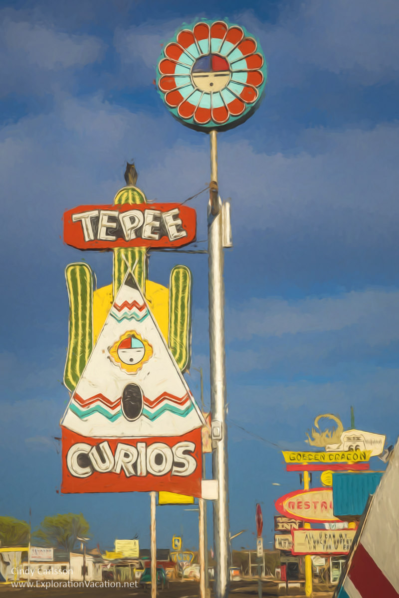 With a classic highway commercial strip that's changed little since the heyday of historic Route 66, travelers on the Mother Road will feel right at home in #Tucumcari New Mexico. One of the most colorful is Te Pee Curios, which has been in business since 1944 – ExplorationVacation #NewMexico #Route66 #Route66RoadTrip #motherroad #ontheroadagain