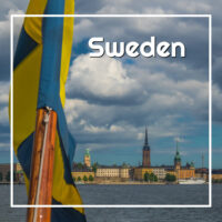 "Swedish flag with old Stockholm in background and text ""Sweden"""