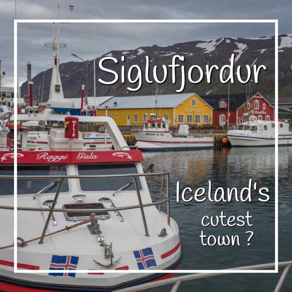 """Colorful buildings and boats with text """"Sigulfjordur Iceland's cutest town?"""
