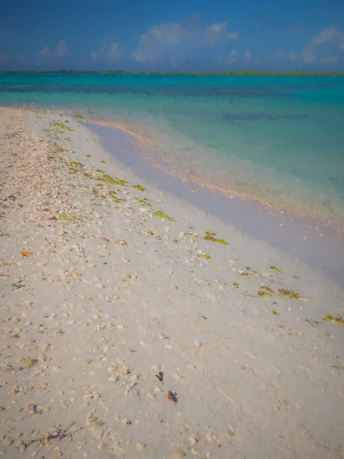 Painted photo of a white sand beach with aqua water