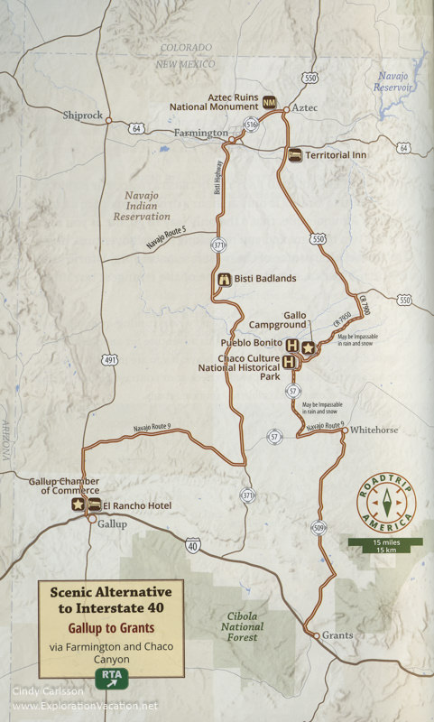 road map showing route to Chaco Canyon