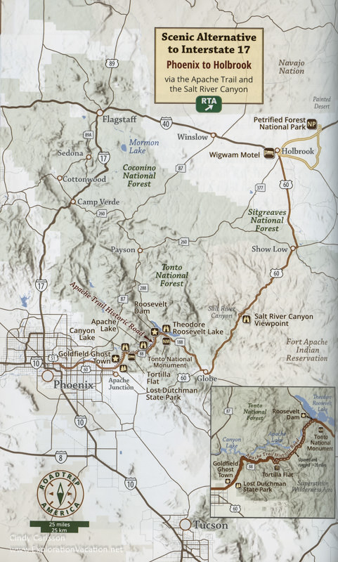 Map of the far eastern route between Phoenix and Holbrook Arizona