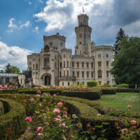 White castle with towers behind a garden of pink roses