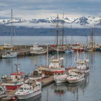 boats in the harbor in Húsavík