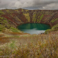 looking down into colorful Kerið (Kerid) crater