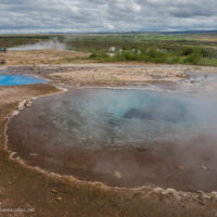 blue pools in the geyser basin