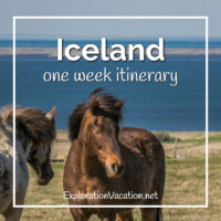 "Icelandic horses with text ""Iceland one week itinerary"""