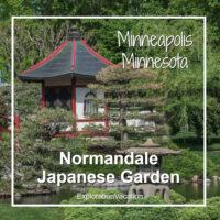 "Japanese garden with text ""Normandale Japanese Garden Minneapolis Minnesota"""