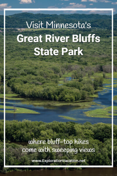 Visit Great River Bluffs State Park text and picture of Mississippi River backwater
