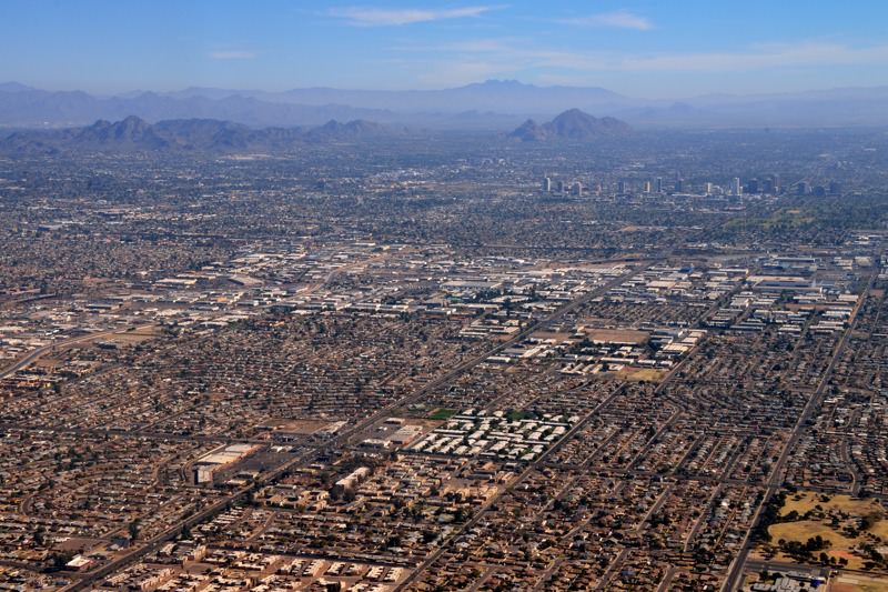 Phoenix urban area viewed from the air