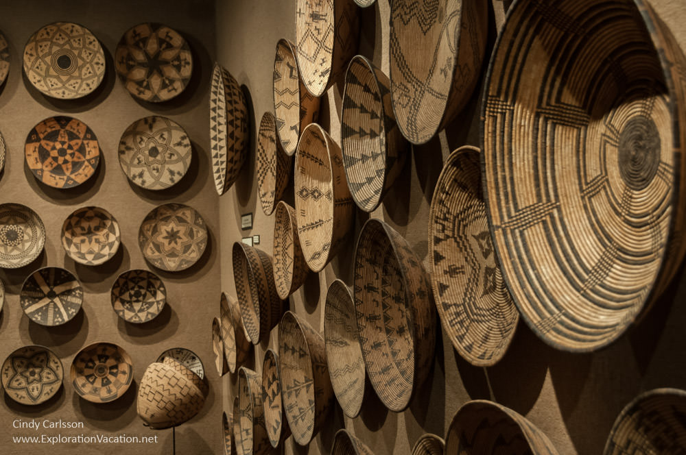 Wall covered with historic Native American baskets