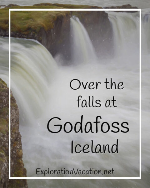 """waterfall with text """"Over the falls at Godafoss Iceland"""""""