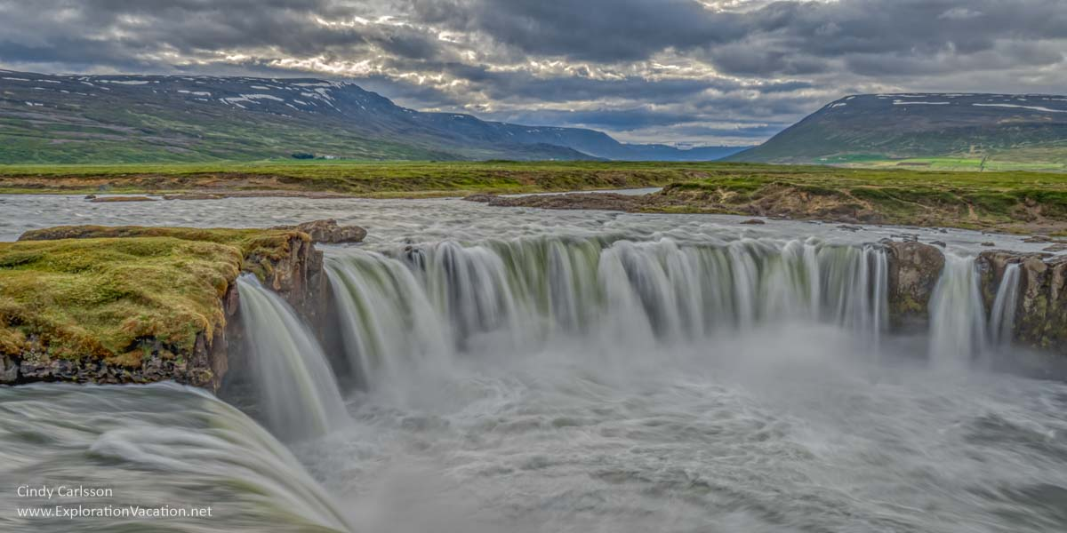 panorama of Godafoss waterfall