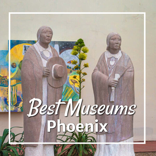 """statues and mural with text """"Best Museums Phoenix"""""""