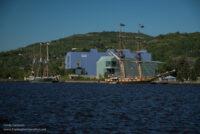 Aquarium building and tall ship